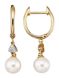 Boucles d'oreilles avec perles de culture blanches d'Akoya et diamants
