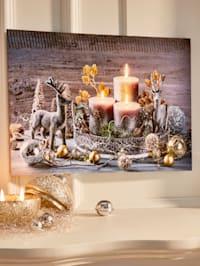 LED-Bild Kerzen mit Elch