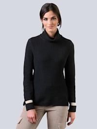 Pullover mit effektvoller Reißverschlussverarbeitung