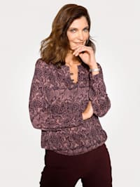 Pull-on blouse with button detail