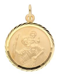 Damen Goldschmuck 585 Gold Anhänger Christophorus Ø 16 mm