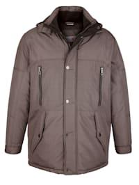 Lang jakke med avtagbar hette