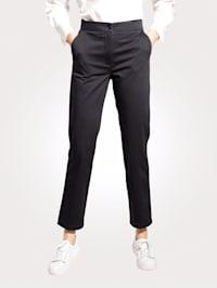 Kalhoty s částečně elastickou pasovkou s proužky