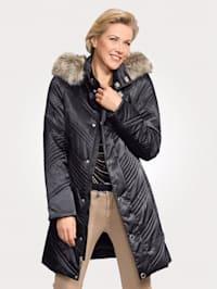 Prešívaný kabát so zipsom odnímateľnou kapucňou