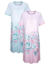 Nachthemden per 2 stuks met modieuze galonprint