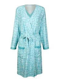 Ensemble robe de chambre +nuisette à motif d'inspiration orientale