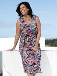 Jerseykleid mit Blätterdruck