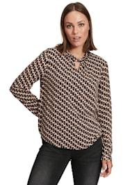 Langarm-Bluse mit Muster Druck