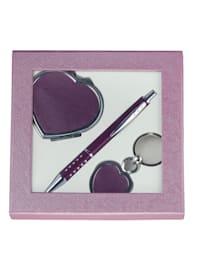 Presentset med penna, nyckelring och spegel