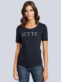 T-Shirt mit Logo Schriftzug aus Strasssteinen