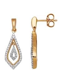 Örhängen med diamanter och briljanter