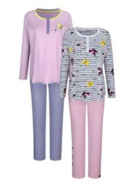Pyjama's per 2 stuks met vrolijke print en contrasten