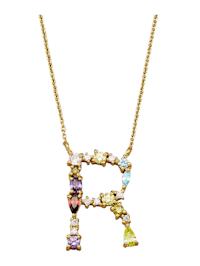 Halsband med bokstavshänge – R med cubic zirconia i flera olika färger