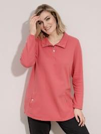 Sweatshirt med krage og kort trykknappestolpe