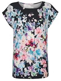 T-shirt de plage à motif de fleurs esprit aquarelle