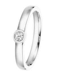 Verlobungsring 585 Weißgold Damenring mit Diamant 0,15 ct