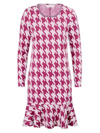 Kleid mit Hahnentrittprint