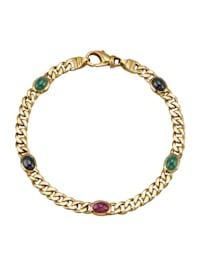 Bracelet maille gourmette avec pierres fantaisie de couleur