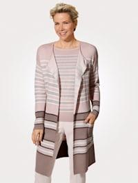 Longline cardigan in a striped pattern