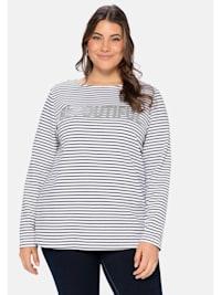 Sweatshirt mit Glitzerdruck und Ringeln