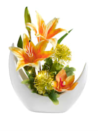 Blomsterarrangemang med LED-ljus