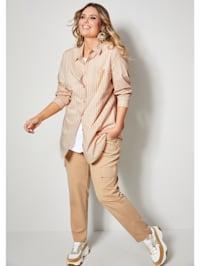 Bluse mit streckendem Längsstreifen-Muster