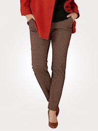 Nohavice s grafickým žakárovým dizajnom