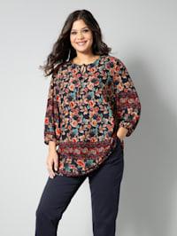 Tunika-Bluse mit schönem Blumenmuster und Bordüren-Druck