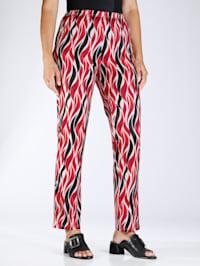 Jersey broek met flatterend patroon