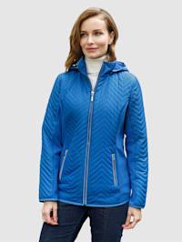 Gewatteerde jas met elastische geribde inzetten