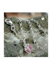 Armband 2,6mm Erbskette Schmetterling Glasstein pink Silber 925 16cm