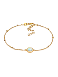Armband Opal Edelstein Kugelkette Rund 925Er Silber