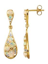 Boucles d'oreilles avec opales et topazes blanches