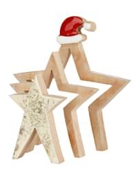 3D Sternen mit Nikolausmütze