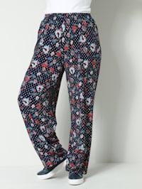Žerzej kalhoty s puntíkovým vzorem a květy