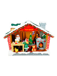 Weihnachtshaus mit Beleuchtung und Spieluhr