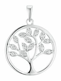 Motivanhänger für Damen, 925 Sterling Silber Zirkonia | Lebensbaum
