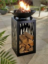 Feuerschale auf Säule mit Holzfach