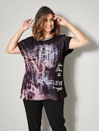 Shirt mit Glitzereffekt an Ausschnitt und Ärmeln