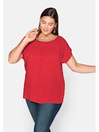 Shirt mit Kontrast-Ausschnitt und weiten Ärmeln
