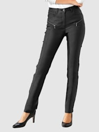 Bukse med belegg med lett glans
