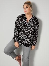 Tunika-Bluse mit Minimalprint