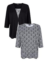 Paita, 2/pakkaus – 1 kukkapaita ja 1 kerrostyylinen paita