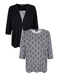 Shirts im 2er-Pack 1x floral und 1x uni mit floralem Einsatz