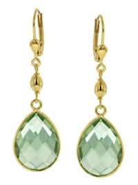 Ohrringe Gold auf Silber 925 Ohrhänger mit hellgrünem Quarz