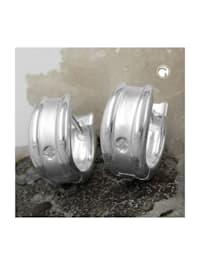 Creole 12x6mm Klappscharnier mit Zirkonia weiß Silber 925