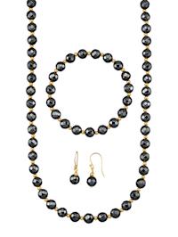 Halsband, armband & örhängen med fasettslipade hematitkulor