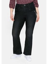 Jeans mit High-Waist-Bund und Stickerei