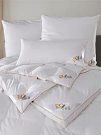 Daunen- & Federn Bettenprogramm mit goldener Satin-Biese