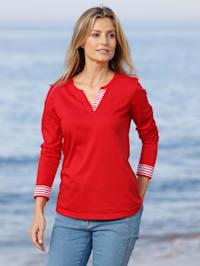 Shirt mit Zierblende in Streifendesign